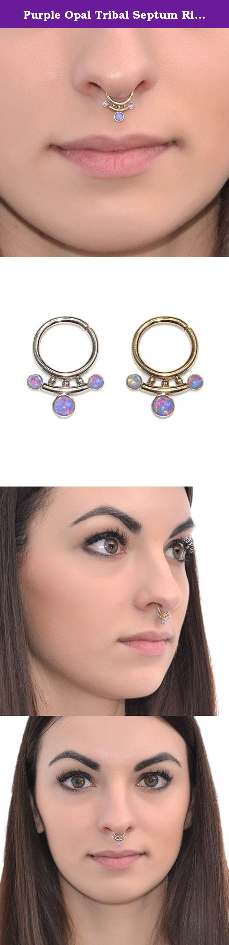 Purple Opal Tribal Septum Ring Gold 18g / Nose Ring, Septum Jewelry, Nipple Ring. This is a very beautiful and delicate 14k gold filled opal septum ring. This is a perfect gift for you or your beloved ones! *The listing is for one hoop (not for a pair). *Available inner diameters in millimeters for your ring: 8mm, 9mm, 10mm, 11mm, 12mm (please feel free to contact us if you need a custom size) *Gauges (wire thickness) available for this item: 20g, 18g, 16g *Metals this item can be made…