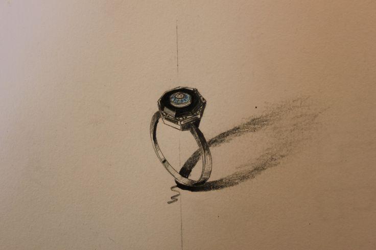 Beautiful art deco inspired black onyx, blue sapphire and diamond engagement ring. #engagement #art deco #love #handmade #madeinmelbourne #sketch