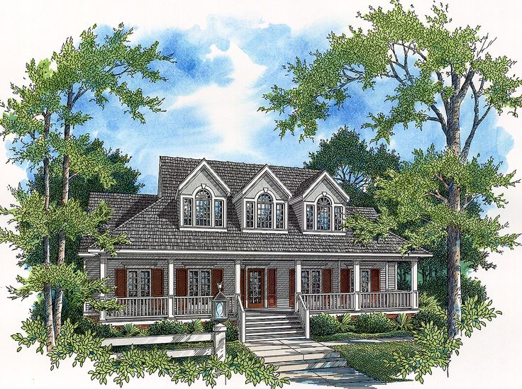 <ul><li>A charming porch introduces this home plan and offers a comfortable place to sit on sunny summer days.</li><li>Inside, a central hall is surrounded by the living and dining rooms, and leads back to the sprawling, casual family room.</li><li>A fireplace warms the family room, while two sets of French doors admit natural light and open out to a back porch and a deck.</li><li>The master suite boasts a main-floor location, while three well-planned secondary bedrooms fill the upper…