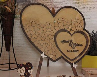 Jubilee Frame Drop box Wedding Guestbook alternative Personalized guest book Sign in wood hearts Dropbox wedding Gift idea Signin Drop top