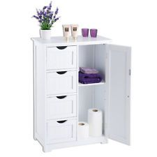 White Wooden 4 Drawer Bathroom Cabinet Storage Cupboard Unit 2 Shelves Christow