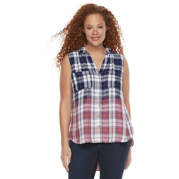 Plus Size Rock & Republic® Sleeveless Dip-Dye Plaid Top ($35) ❤ liked on Polyvore featuring plus size women's fashion, plus size clothing, plus size tops, blue, plus size, plaid top, plus size sleeveless tops, v neck sleeveless top, plus size plaid top and rayon tops