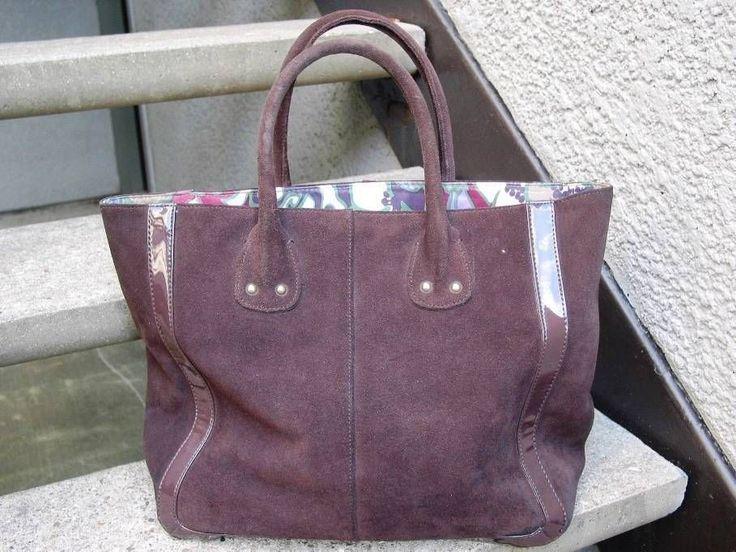 Used Brown Suede Leather Gap Handbag Tote #Gap #ShoulderBag