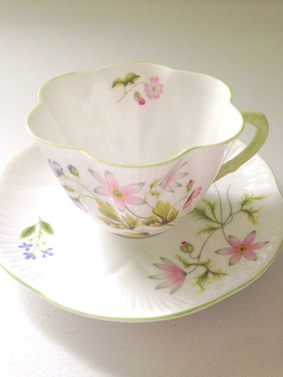 Antique Shelley English Fine Bone China Wild Anemone Pattern Dainty Shape Teacup and Saucer Tea Party - Ca. 1945-1966