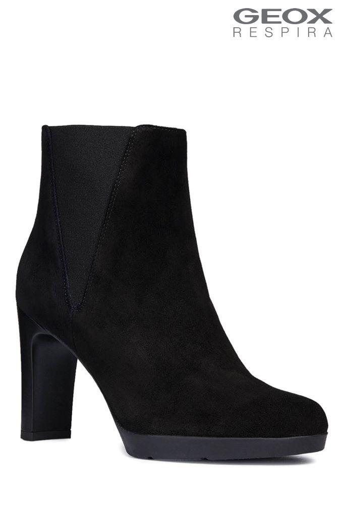 c392eaaeaaa Womens Geox Annya High Black Heeled Suede Ankle Boots - Black ...