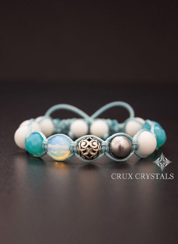 Sea Breeze Handcrafted Shamballa Beaded Bracelet by CruxCrystals