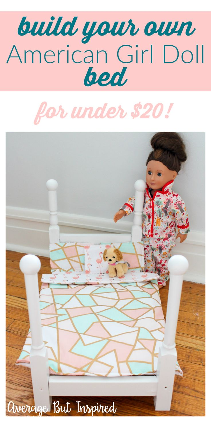 "This is awesome! For under $20, you can build your own American Girl Doll bed! It's a super basic build that is perfect for beginners. Make your own 18"" doll bed and save so much money! (Kids Wood Crafts Doll Houses)"