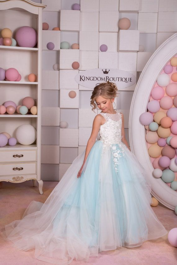 Ivory and Blue Tulle Flower Girl Dress by KingdomBoutiqueUA