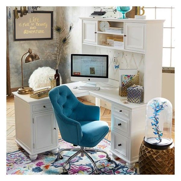 PB Teen Chelsea Corner Desk Hutch, Large, Simply White ($549) ❤ liked on Polyvore featuring home, furniture, desks, semi circle desk, handcrafted furniture, white hutch, white home office desk and handmade furniture