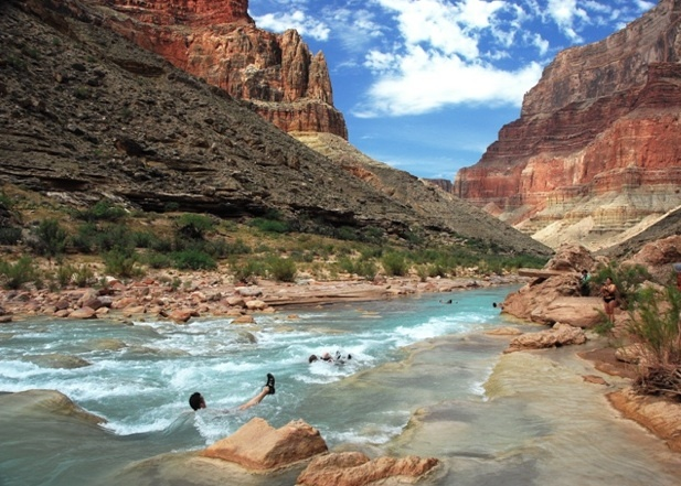 Bob and I LOVED drifting down the Little Colorado River. The rafters hook up with feet under arms of fellow rafters, creating a long chain of thrill seekers ready for a THRILL!: Long Chains, Seeker Ready, Rafters Hooks, Thrill Seeker, Fellow Rafters, Colorado Rivers, Under Arm
