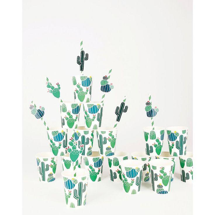 #mylittleday #cactus #feest #feestservies #papierenservies #kinderfeest #woontrend #botanisch #beker #rietjes #leukerietjes #feestje