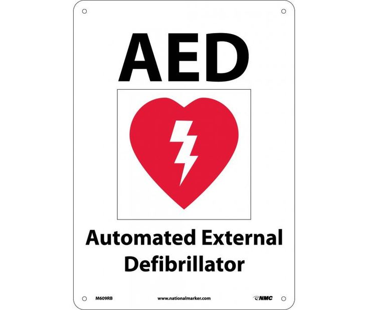 AED AUTOMATED EXTERNAL DEFIBRILLATOR (WITH GRAPHIC), 10X14, Rigid Plastic