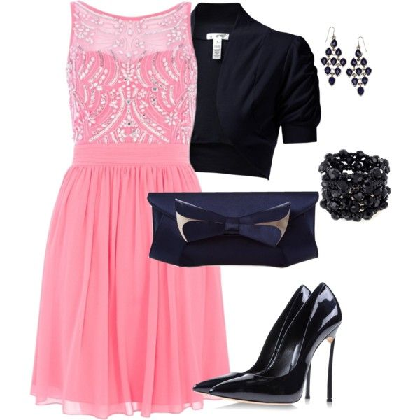 """""""Pink Chiffon Sequin Embellished Dress"""" by amooshadow on Polyvore"""