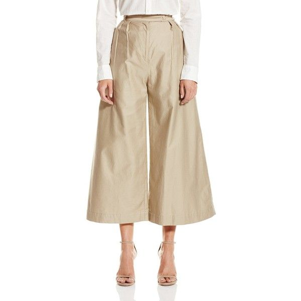CADET Clothing Women's Wide Leg Crop Trouser ($348) ❤ liked on Polyvore featuring pants, capris, pleated wide leg pants, cropped trousers, military pants, pleated pants and wide-leg trousers