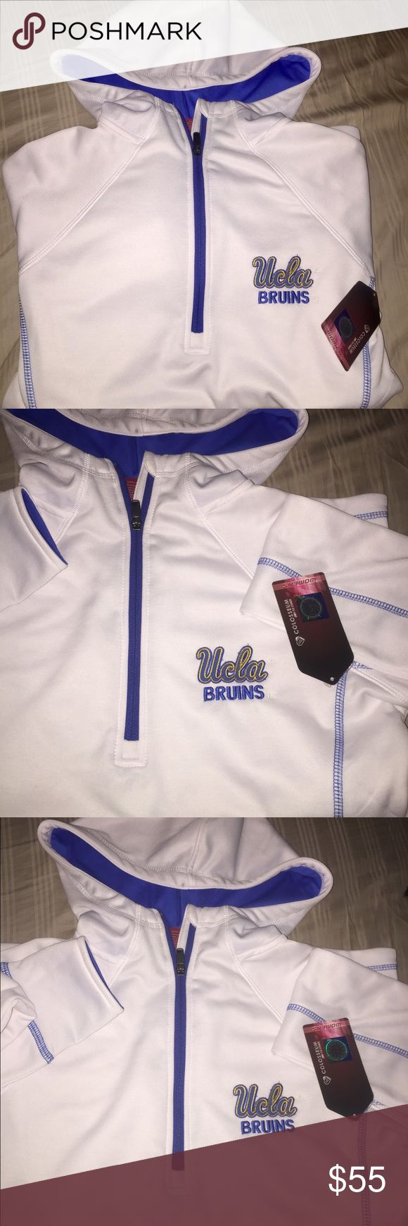 UCLA Women's Pullover Hoodie Medium, Brand new with tags, NEVER WORN white pullover hoodie with blue detail and UCLA logo. Super comfortable! Super cute! Won't find another like it! UCLA Jackets & Coats Utility Jackets
