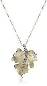 Yellow Gold Diamond Leaf Pendant Necklace