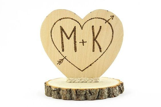 Personalized Cupids Heart Rustic Cake Topper *** Discover this special deal, click the image : Baking desserts tools