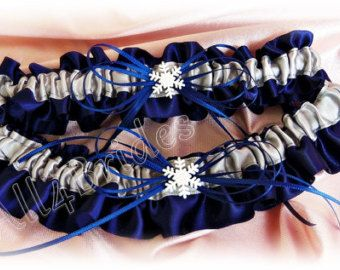 Image result for snowflake garters for wedding dark blue