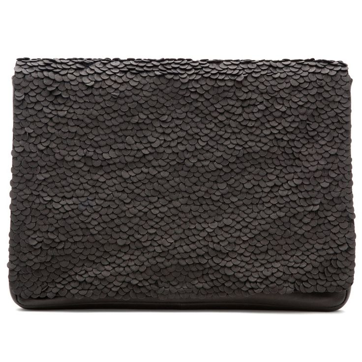 Oversized Leather Sequins Clutch Black
