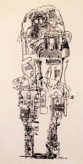 Sir Eduardo Paolozzi (1924 – 2005) Sculpture Drawing MOTOR FIGURE 1958. This is a whole figure drawing with a combination of collage and drawing. Try one out for yourself.