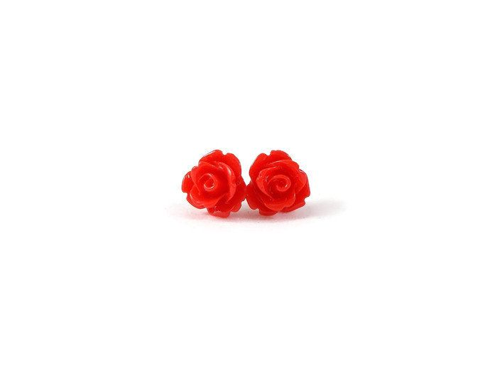 Red Rose Earrings Valentine's Day Gift Surgical Steel Posts for Sensitive Ears Red Flower Earrings Rose Post Earrings Rosette Earring by foreverandrea on Etsy