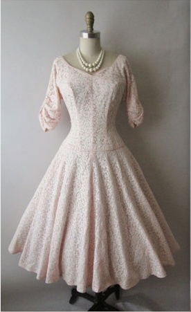1950's wedding dress...white lace over pale pink