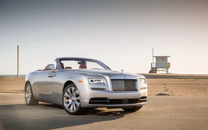 Descargar fondos de pantalla Rolls-Royce Amanecer, Cabrio, coches de lujo, la plata, el Rolls-Royce