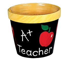 Painted pots - cute idea for a teacher !