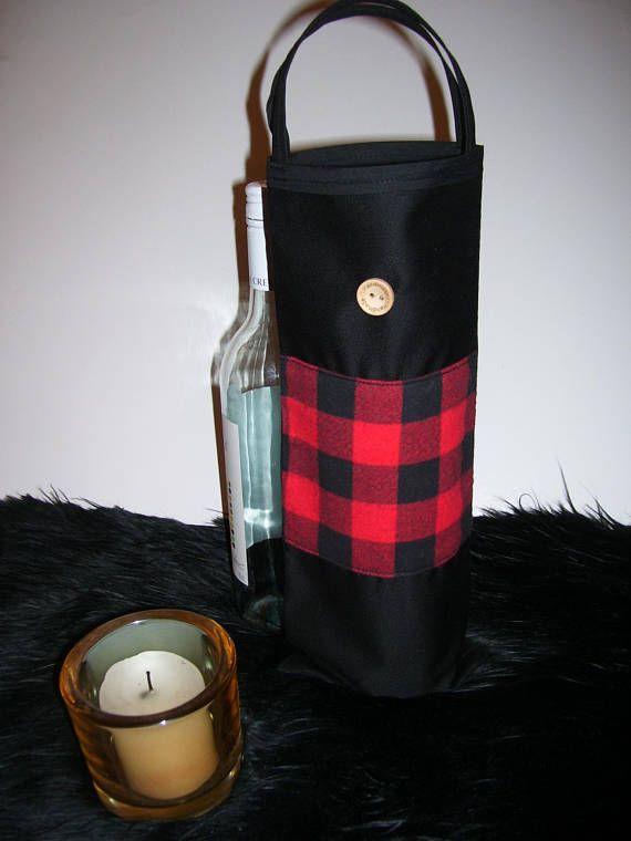 WINE GIFT BAG  checkered wine bag  buffalo wine bag