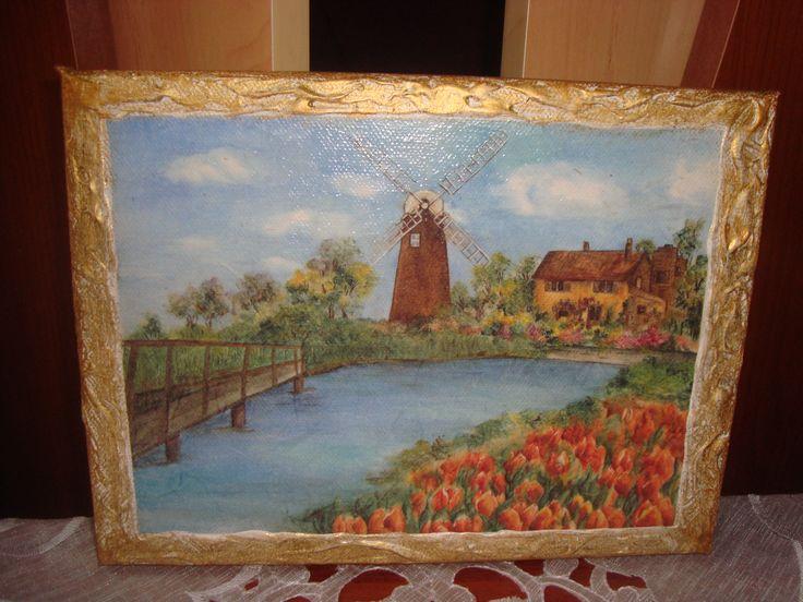 tablou pe panza cu hartie orez