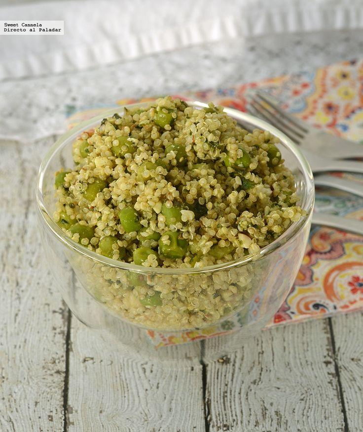 Receta para preparar quinoa con pesto de almendra. Con fotos del paso a paso y consejos de degustación...