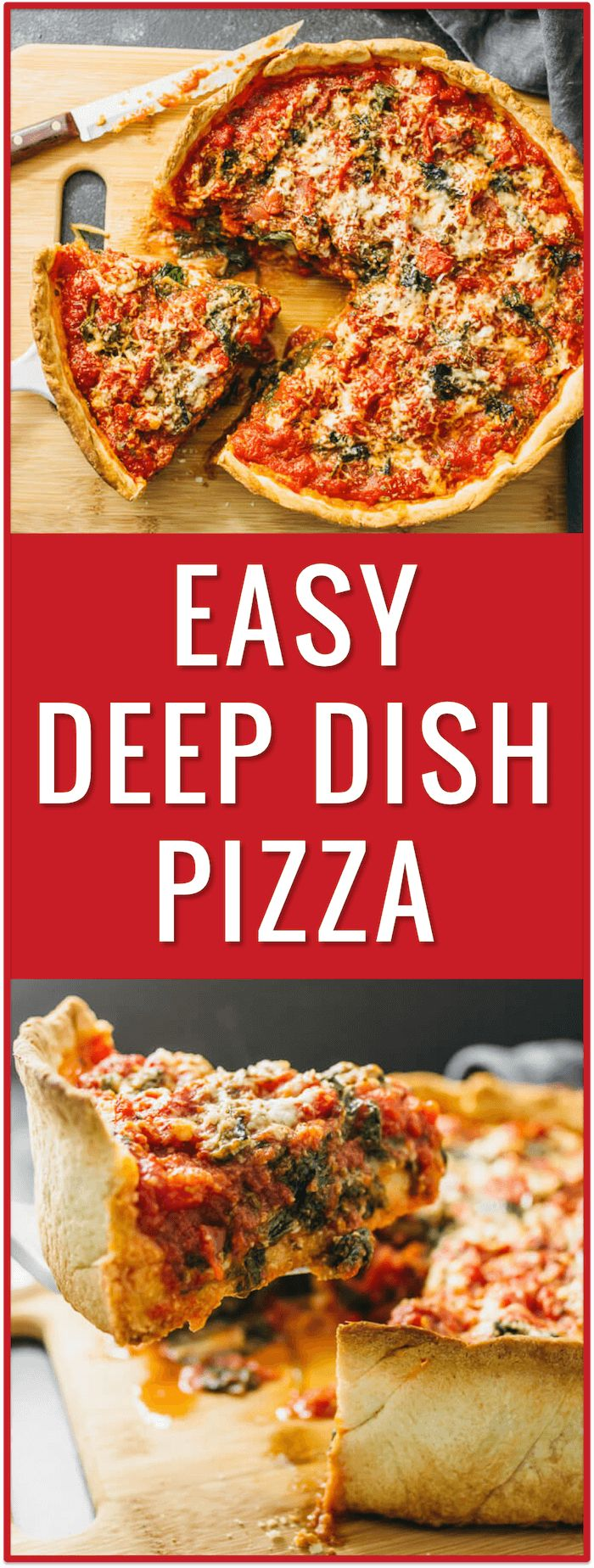 Chicago deep dish pizza with spinach - Don't live in Chicago but craving deep dish pizza? No problem! In this recipe, I'll show you how to make homemade Chicago deep dish pizza with spinach from scratch! The dough is easy to prepare and the filling can be of your own choosing. - savorytooth.com via @savory_tooth
