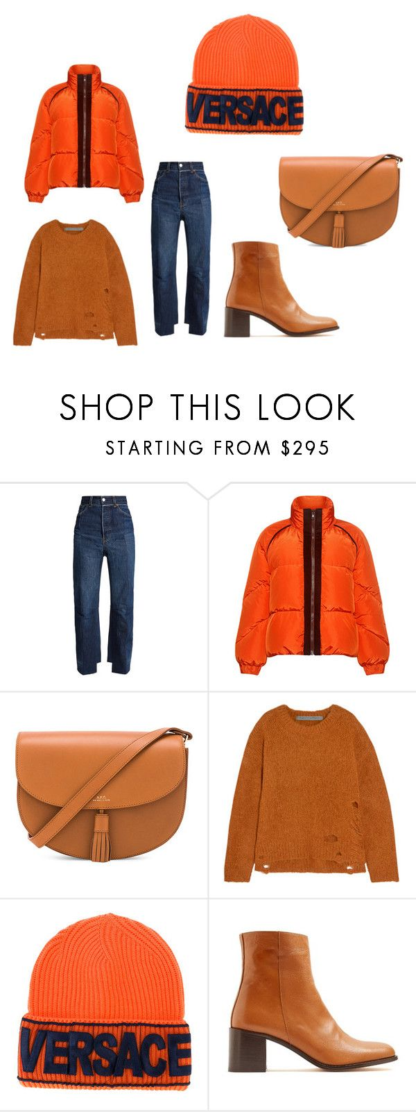 """""""Untitled #3306"""" by sarasilva07 ❤ liked on Polyvore featuring Vetements, Ganni, A.P.C., Raquel Allegra, Versace and Maryam Nassir Zadeh"""
