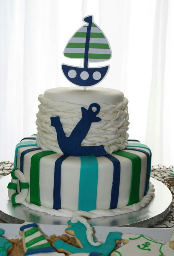 Fun cake at a nautical baby shower!   See more party planning ideas at CatchMyParty.com!