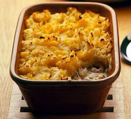 Fish pie with swede & potato topping