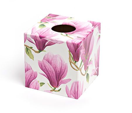 Pink Magnolia Flower Tissue Box from Crackpots Tissue boxes and Bins - handmade wooden decoupage