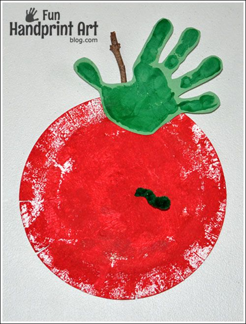 Johnny Appleseed Day Craft - Paper Plate Apple Handprint Craft