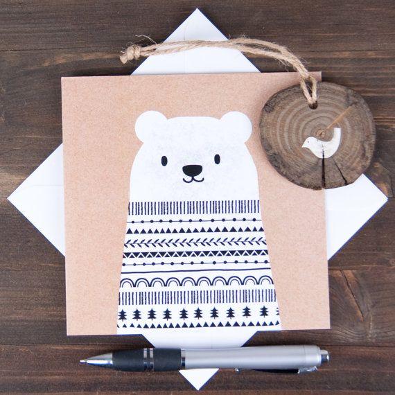 Big bear Christmas card kraft effect monochrome by ClothKat