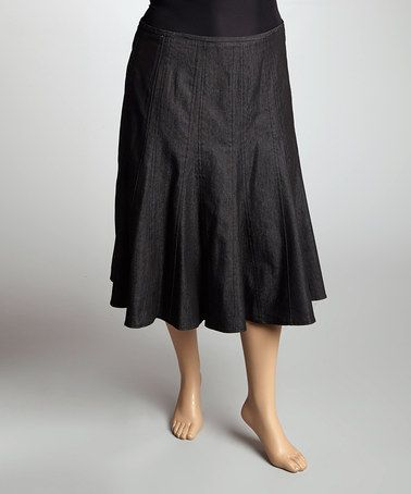 Take a look at this Black Denim Flared Skirt - Plus by Larry Levine on #zulily today!