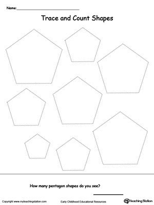 Trace and Count Pentagon Shapes: Practice shape recognition or teach your child about the different kinds of shapes with this  shape printable activity worksheet.