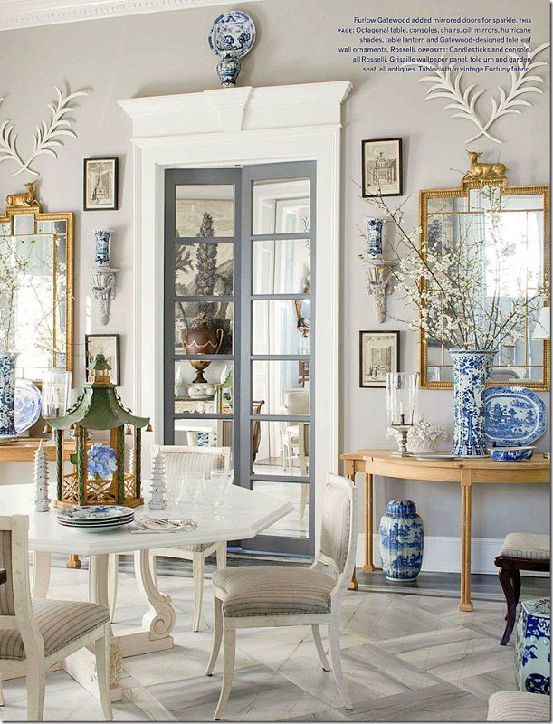 The French doors are mirrored to add
