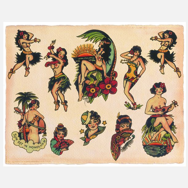 Vintage Hula girl flash