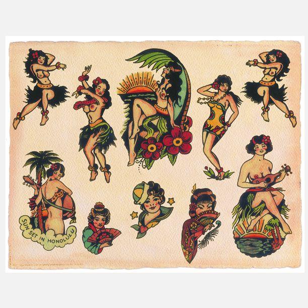 Vintage Hula girl flash