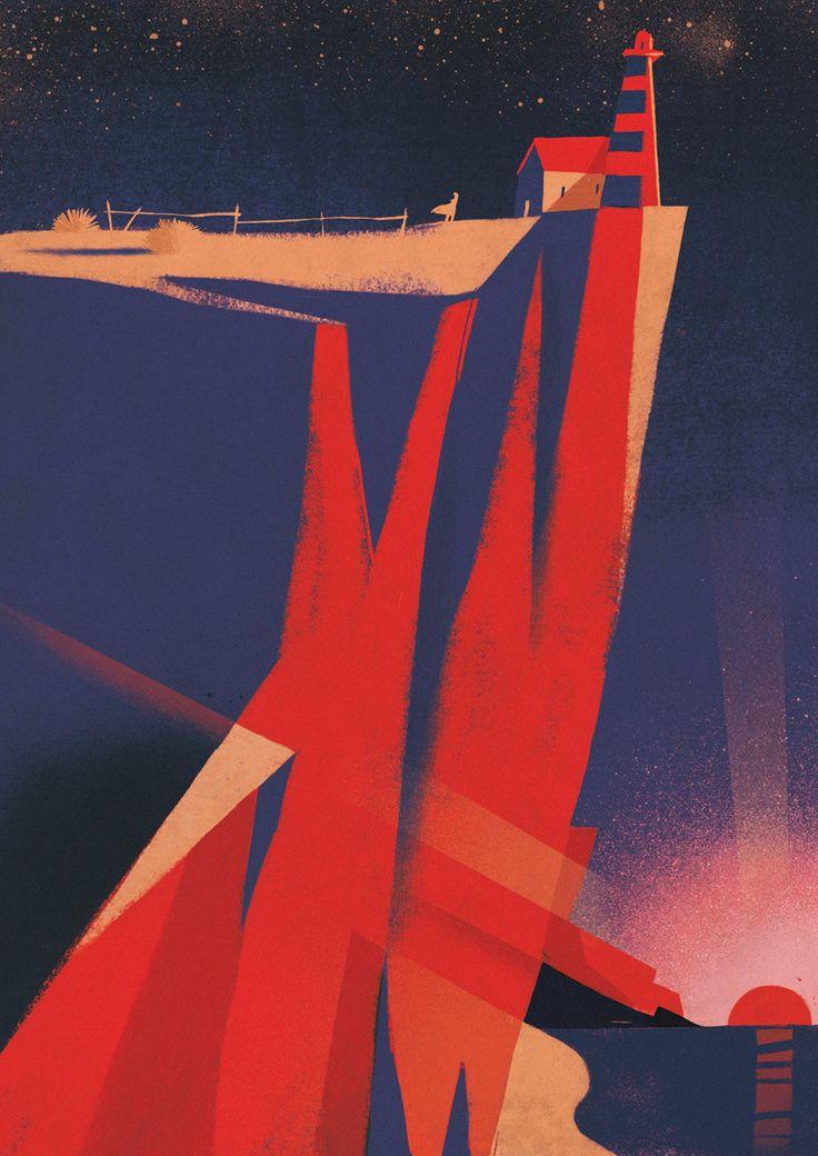 """riccardoguasco:    """"La casa alla fine del mondo"""" Riccardo Guasco 2015 per AD Architectural Digest - Italia   Society of Illustrators N.Y. 58thSono onorato di essere stato selezionato per la 58° edizione della mostra e del Annual dalla Society of Illustrator di New York.L'opera qui sopra realizzata per AD e i 7 poster della campagna Nastro Azzurro saranno appesi ai muri del Museum of American Illustration. Nel mio piccolo sono felice che abbiano scelto questa. Perchè è un alba, spero di un…"""
