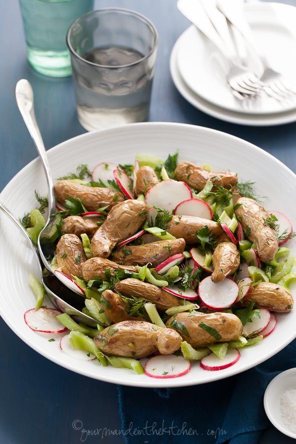 fresh mayo-less potato salad with roasted fingerling potatoes ...