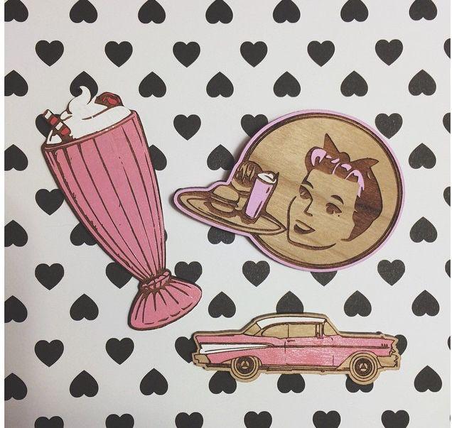Diner brooches. Chevy brooch. Dinner girl brooch. Pinup girl. Milkshake brooch. Made by deer arrow. www.deerarrow.com