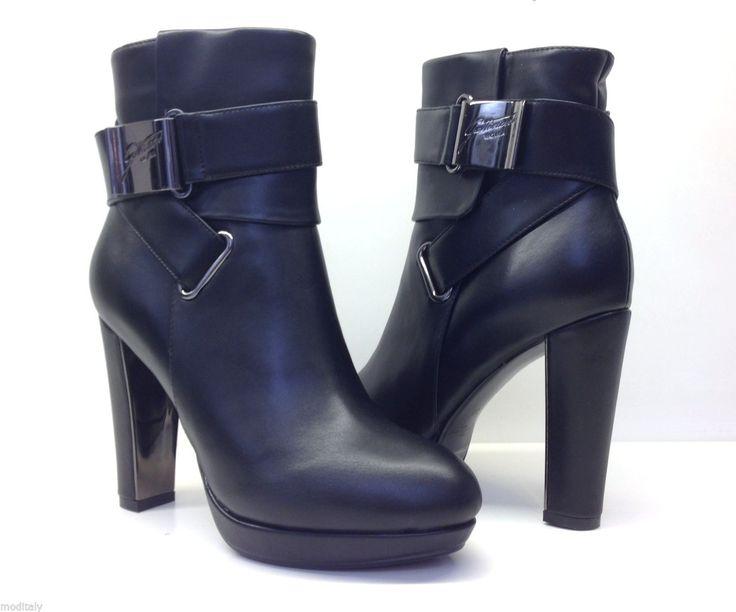 GATTINONI scarpe donna TRONCHETTO TACCO PINMD0177WCA000 nero ecopelle fibbia   eBay