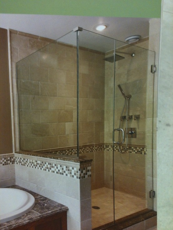 Put the listello down low like this or up higher shower for How to put down tile in bathroom