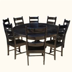 "72"" Rustic Solid Wood Black Round Dining Table Chair Set For 8 People"