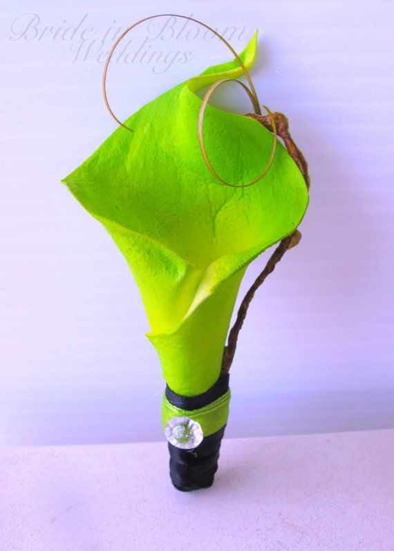 Lime green boutonniere real touch calla by BrideinBloomWeddings
